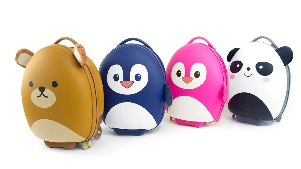 Cute Animal Travel Trolley Luggage for Kids - Pink Penguin by Kids Travel Boutique (Image #7)