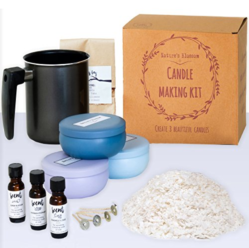 Nature's Blossom Candle Making Kit - A Complete DIY Set for Creating Premium Scented Soy Candles with 1.5 lb. Soy Wax, Melting Pitcher, 3 Tin Containers, Wicks, Lemon, Lavender & Chamomile Fragrances