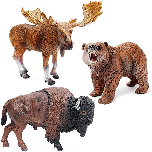 UANDME Animal Toy Figures Set Includes American Bison, Grizzly Bear, Moose Bull Figurine