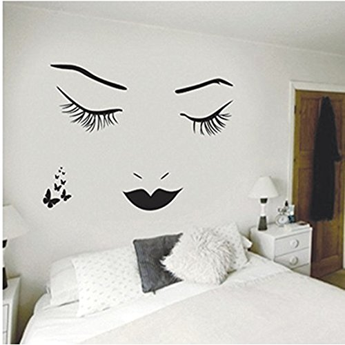 Aigemi Eyelashes Wall Stickers DIY Wall Quote Sticker Decal Home Decor Vinyl - Falling Mirrors Bathroom
