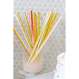 Sugar & Cloth Paper Straws, Ombre Multi-Color, 125 Count