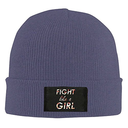 Reteone Adult's Fight Like A Girl Elastic Knitted Beanie Cap Winter Outdoor Warm Skull Hats One Size Navy ()