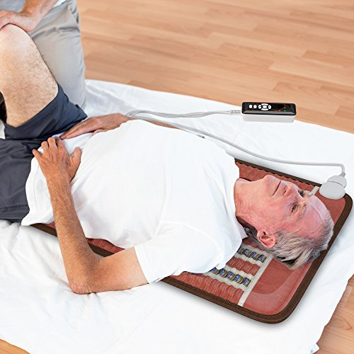 HealthyLine Infrared Heating Pad 32''x20'' (Firm)|PEMF 7.83Hz Tourmaline, Amethyst & Obsidian Gemstones |US FDA Registered, Comfy & Portable Pad |For Sore Muscles & Aching Joints|With Foil Blanket by HealthyLine (Image #3)