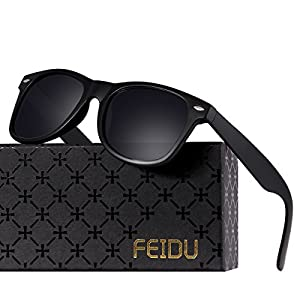 FEIDU Classic Men's Polarized Wayfarer Retro Sunglasses Unisex for Women FD 2149 (Matte Black, 2.08)