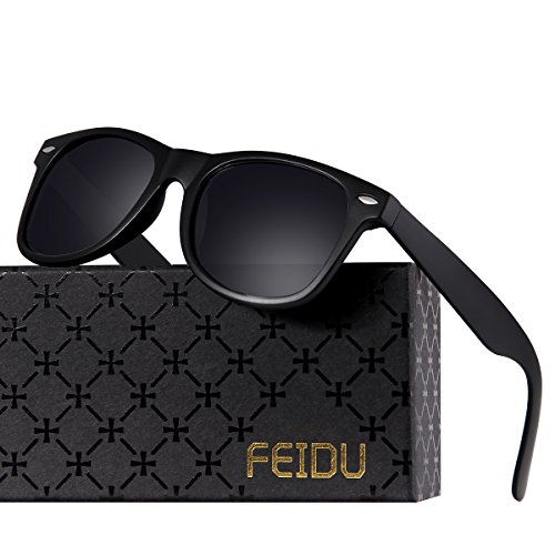 FEIDU Classic Men's Polarized Wayfarer Retro Sunglasses Unisex for Women FD 2149 (Matte Black, - Sunglasses Men Black