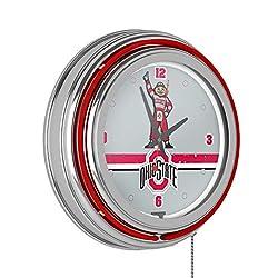 NCAA Ohio State University Stripe Brutus Chrome Double Ring Neon Clock, 14