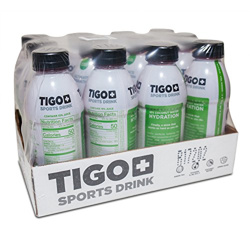 TIGO+ Sports Drink Ultimate Hydration Watermelon 16 oz (pack of 12) 10% coconut water, Vitamins A, B6,B12,C Amino acids, Green tea, Stevia, Natural color and Flavor (Distributor Sport)