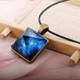 quart crystal pyramid - Autumn Water Charm Crystal Glow in The Dark Necklace Pyramid Pendant Space Star Triangle Geometric Luminous Necklace for Women