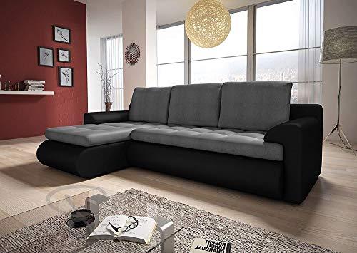 Sofá cama esquinero izquierdo en gris oscuro y negro con ...