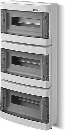 Sicherungskasten Kleinverteiler IP55 Aufputz 13 Module 1-reihig inkl Hutschiene und PE-//N-Klemmen Control LUX-PLUS