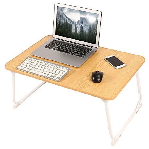 NNEWVANTE Large Table Tray Laptop Bed Tray Foldable & Portable Lap Desk 26.817.8in Camping Floor Table Foldable Breakfast in Bed Serving Reading Tray-Wood Grain