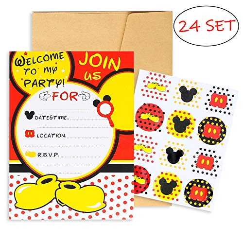 PANTIDE 24Pcs Mickey Minnie Mouse Party Invitation Cards with Mickey Mouse Stickers and Envelopes-Double Sided, Fill-in-Blank Cards for Kids Birthday Baby Shower Mickey Mouse Party Supplies -