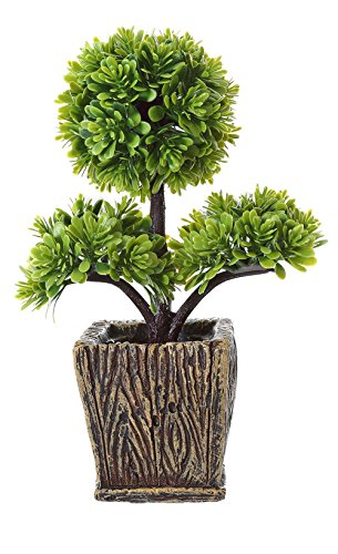 Miracliy 10 Artificial Potted Tabletop Plants Small Synthetic Decor for Office Home Desks and Tables Decorations (Green Good Luck Tree