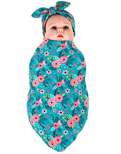 Bab Swaddle Blanket Headband Set SleepSack Unisex Toddler Nurseing Wrap Cover (9090cm, Blue Flowers)