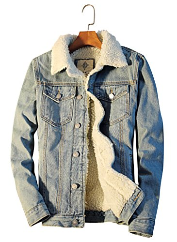 (Beskie Men's Sherpa Lined Denim Jacket Button Down Classic Trucker Jackets Warm Casual Quilted Jeans Coats)