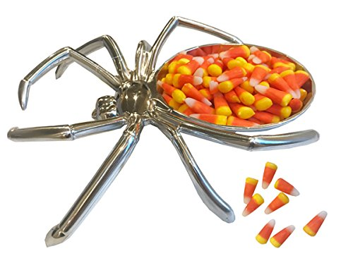 Halloween Silver Spider Candy Dish with 8oz Bag of Candy Corn Set