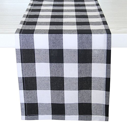 (ARKSU Christmas Table Runner Plaid Polyester-Cotton Blend for Dinner Table Indoor or Outdoor Parties Home Decor, Black and White, 12