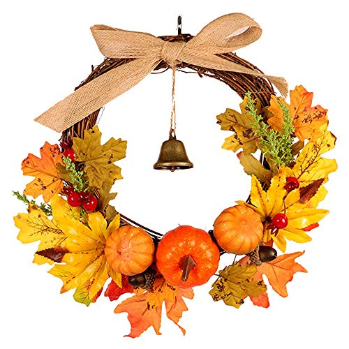 HBFYQ Decorative Garland Creative Bell Maple Tree Vine Pumpkin Ornament Pendant Thanksgiving Christmas Halloween Suitable for Any Holiday Size 3030cm ()