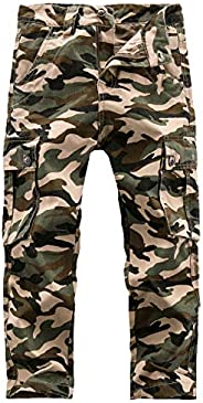 BYCR Boys' Casual Camo Cargo Pants Cotton Loose Slim Fit Jogger Trousers