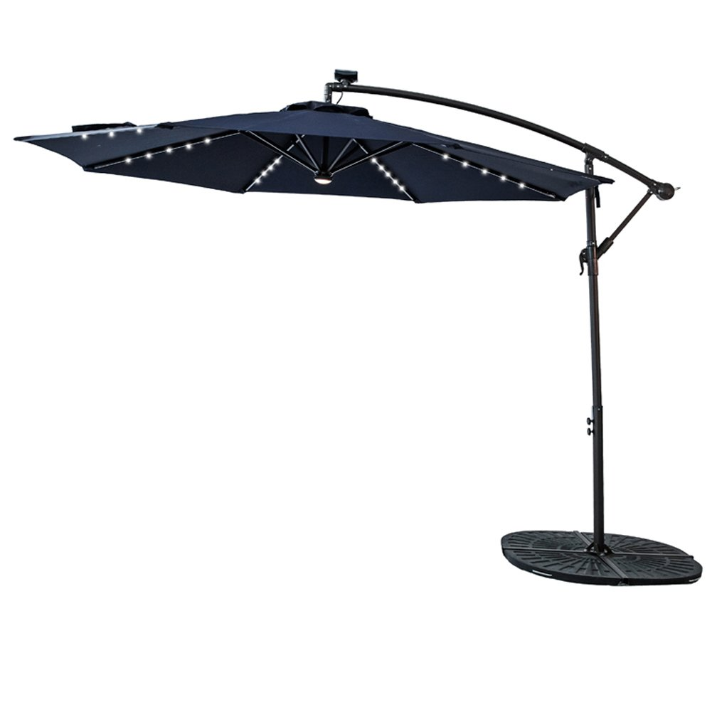 C-Hopetree 10 feet Solar Power LED Lights Outdoor Offset Cantilever Umbrella, LED Lights Hanging Patio Parasol Crank Winder, Large Round, Navy Blue
