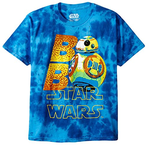 Star Wars Big Boys' Neon Bb-8 with the Force Awakens Logo Tie-Dye T-Shirt, Blue, L