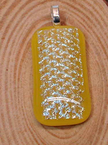 (Large Iridescent Yellow Handmade Fused Dichroic Glass Pendant)