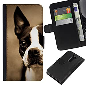 EJOY---La carpeta del tirón la caja de cuero de alta calidad de la PU Caso protector / LG G2 D800 / --Boston Bull Terrier French Bulldog Cachorro