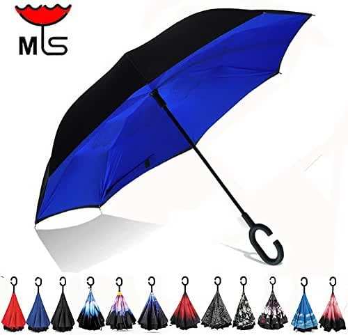 Double Layer Inverted Umbrella Windproof UV Protection Reverse folding Cars Reversible Umbrella by MY'S (Royal Blue)