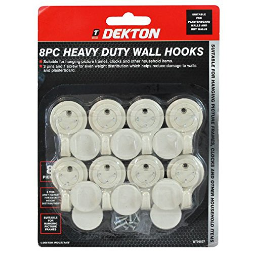 8pc HEAVY DUTY Hard Wall Hooks Picture Frame Hanging Hooks 35mm ...