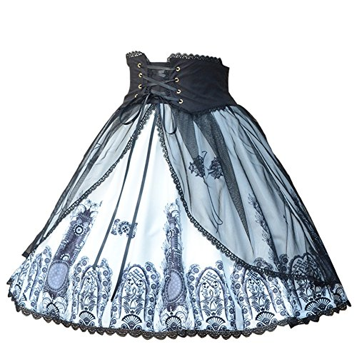 (Smiling Angel Women's Classic Gothic Lolita Band Waist Skirt Cross and Church Printed Vintage Style)