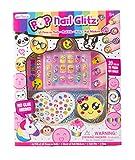 Hot Focus Pop Nail Glitz - 3D Emoji Nail Art Kit for Girls - 53 Piece Set Includes 3D Press on Nails, Nail Stickers, Nail File and Ring