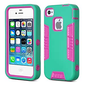 Pandamimi ULAK 3 in 1 Case for Apple iPhone 4 4S With High Impact Hybrid Durable Soft Silicone Skin (Green+Rose Pink)