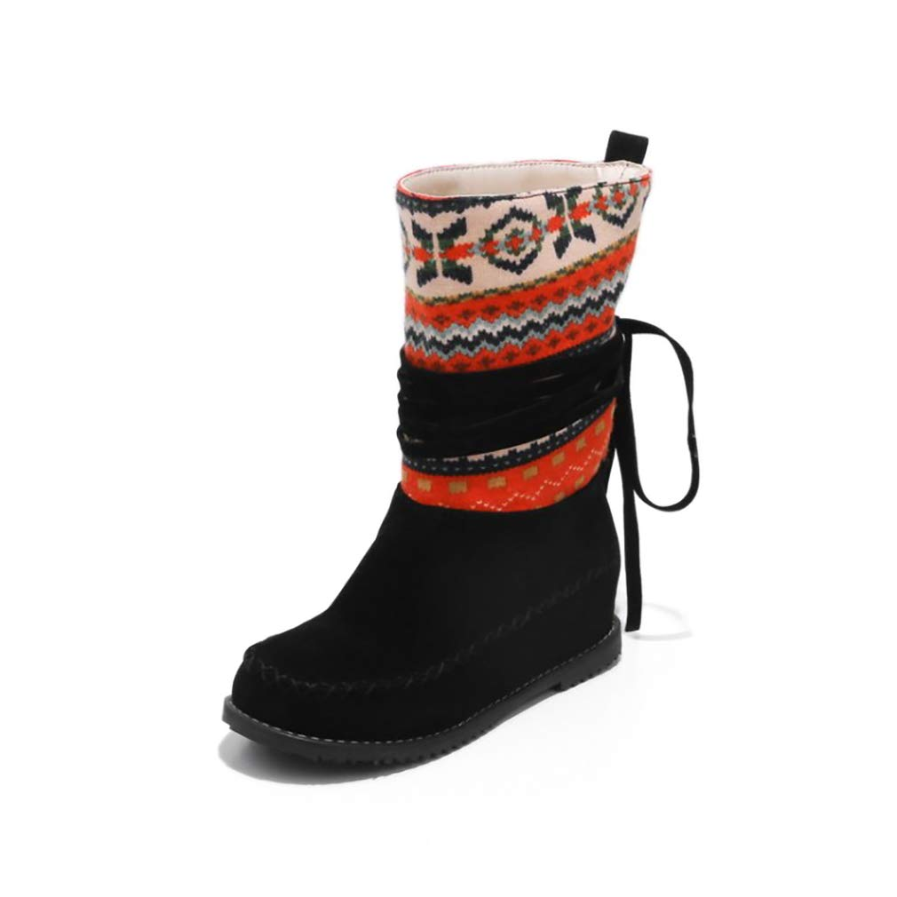 Hy Damen Stiefelies Herbst/Winter Wildleder Lässig Flache Ferse Stiefelies/Damen National Wind Large Größe Stiefel/Stiefeletten (Farbe : B, Größe : 42)