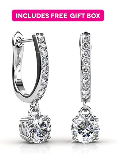 Jade Marie ASTONISHING Silver Dangle Brilliant Round Crystal Earrings, 18k White Gold Plated Horseshoe Dangle Earrings with Swarovski Crystals, Beautiful Dangle 1ct Earrings, Bridesmaid Jewelry