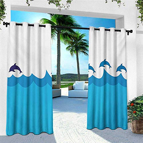 leinuoyi Sea Animals, Outdoor Curtain Panel Design, Lead and Three Dolphins Shadow on Waves Oceanlife Maritime Theme Image, for Patio W108 x L96 Inch Blue Turqouise