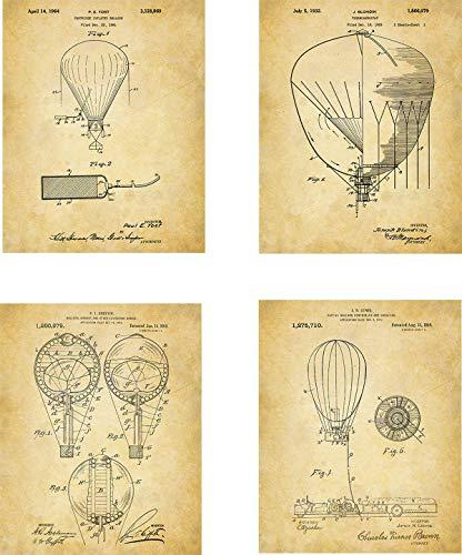 Hot Air Balloons Patent Wall Art Prints - set of Four (8x10) Unframed - wall art decor -