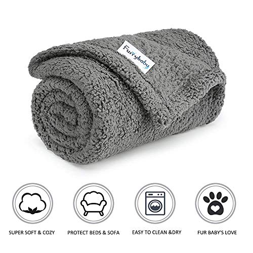 "Furrybaby Premium Fluffy Fleece Dog Blanket, Soft and Warm Pet Throw for Dogs & Cats (Small (2432""), Grey Blanket) from Furrybaby"