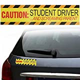 MONNY 30 x 7.5cm Yellow Caution Student Driver & Screaming Parent Car Magnetic Bumper Sign Safety Vinyl Sticker
