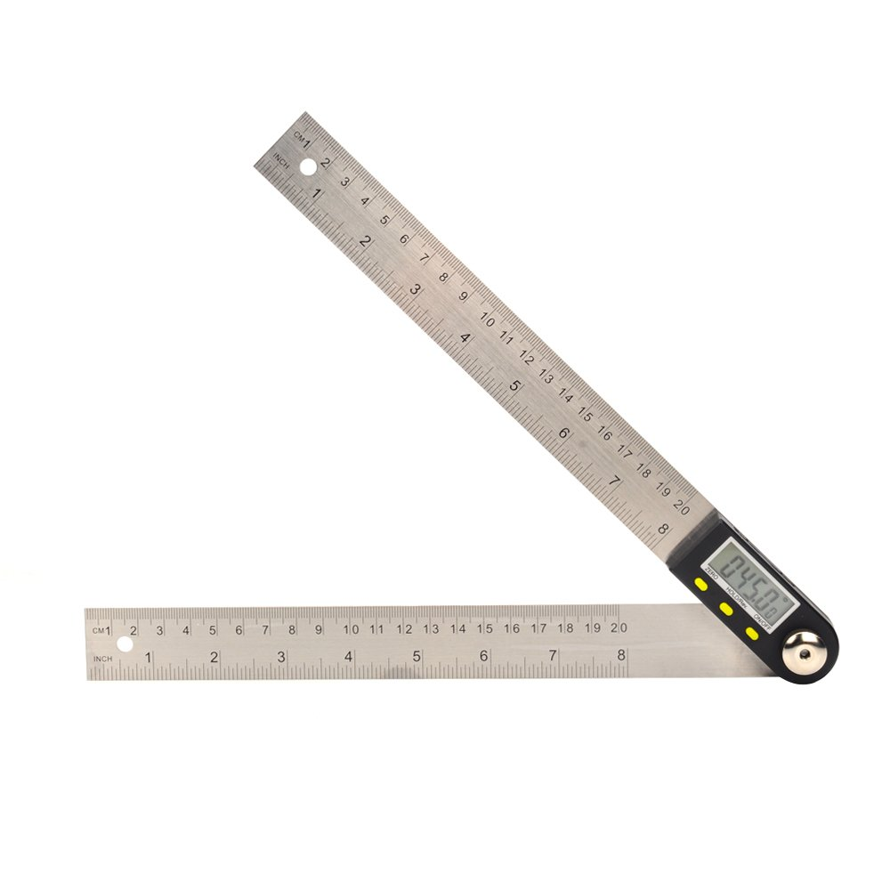 Elecall 2 in 1 Digital Protractor Goniometer Angle Finder Ruler Measuring Tool Stainless Steel Electronic Angle Gauge(200mm)