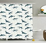 Clear Shower Curtain with Fish Design Fish Shower Curtain Set Sea Animals Decor by Ambesonne, Sharks Swimming in Different Directions Monochromic Pattern Print, Bathroom Accessories, 75 Inches Long, Dark Grey White