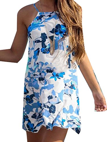 Zimaes Women Floral Print Slip Summer Beach Club Dress Cocktail Dress As picture S - Michael Floral Print