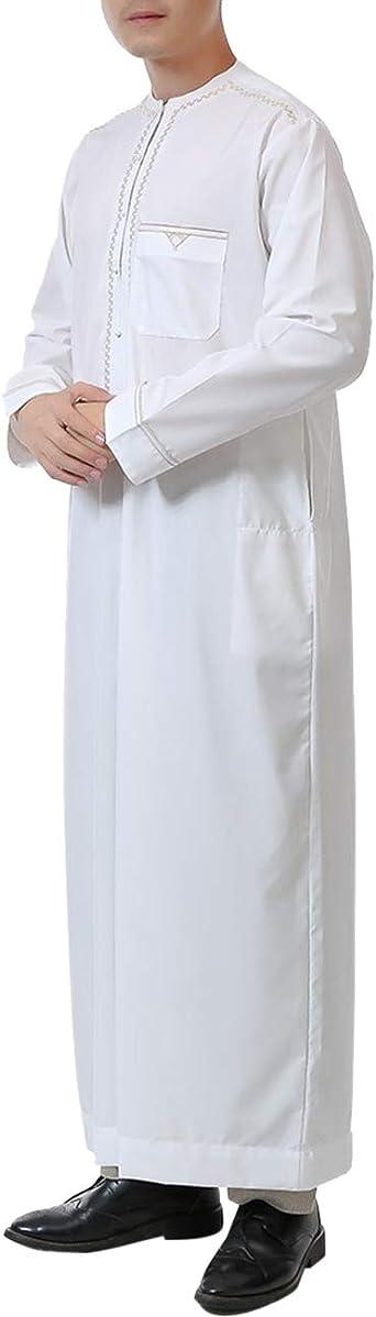 Zhhlinyuan islámica Abaya Manga Larga musulmán saudí árabe Camisa para Hombres Traje de Bordado islámico Ropa - turca de Dubai Thawb étnica Cuello Redondo: Amazon.es: Ropa y accesorios