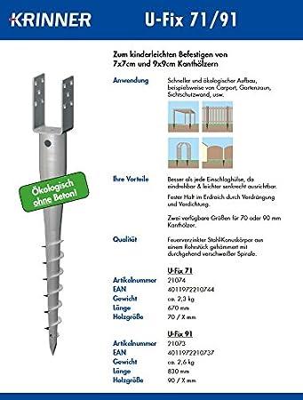 8 Stück PREMIUM KRINNER Eindrehanker 91 mm für Pfosten 90 x 90 mm Eindrehhülsen