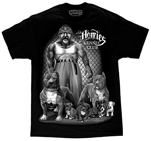 David Gonzales Men's Kennel Club Gangster Cholo Pit Bulls Chicano DGA Art T Shirt Medium Black (Pit Bull Kennels)