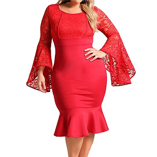 - SEBOWEL Women's Plus Size Floral Lace Bell Sleeve Mermaid Bodycon Party Midi Dress Red-2XL