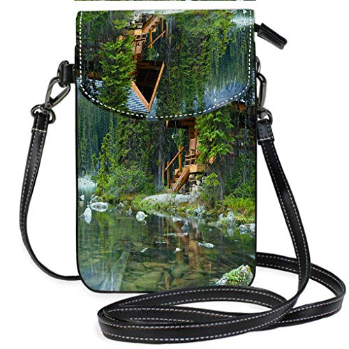 Hidden Lake Log - Multicolor Shoulder Messenger Bag Phone Purse Log Cabin Hidden in The Trees by The Lake Ohara in Canada Lightweight, Water Resistant Travel Purse for Women
