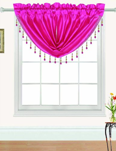 RT Designers Collection Nikki Faux Silk Beaded 47 x 37 in. Swag Valance, Neon Pink ()
