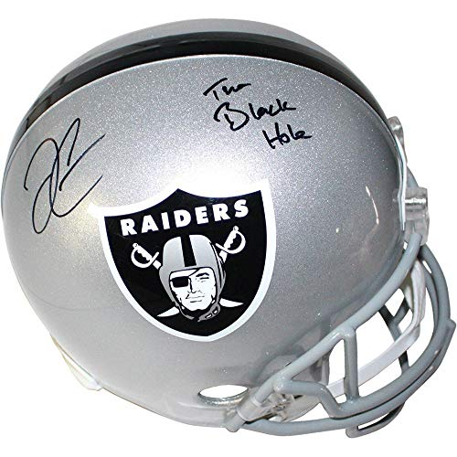 Derek Carr Oakland Raiders Signed Autograph Full Size Helmet BLACK HOLE INSCRIBED Steiner Sports Certified from Mister Mancave