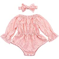 Xmas gift Baby Girl Clothes Infant Girl Lace Romper Newborn Pure Pink Bodysuit Pretty Floral Princess Party Dress