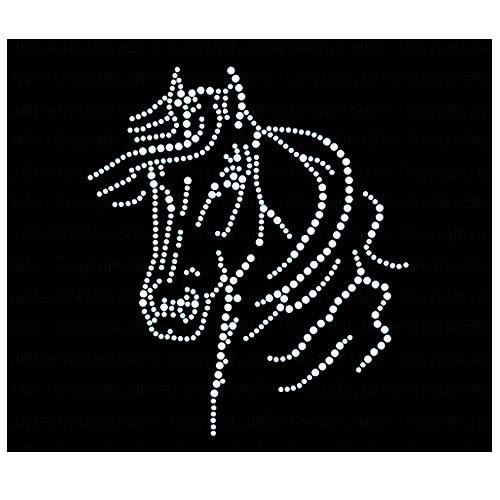 Horse Head Iron On Rhinestone Crystal T-Shirt Transfer by JCS Rhinestones